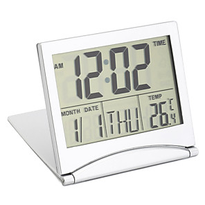 cheap Electrical & Tools-Digital LCD Screen Travel Alarm Clocks Table Desk Thermometer Timer Calendar