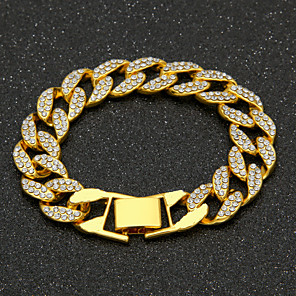 cheap Men's Chain Necklaces-Men's AAA Cubic Zirconia Chain Bracelet Cuban Link Precious Luxury Fashion Hip-Hop Hip Hop Iced Out Gold Plated Bracelet Jewelry Gold / Silver For Daily Work / Imitation Diamond