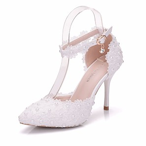 cheap Wedding Shoes-Women's Lace / PU(Polyurethane) Spring & Summer Sweet Wedding Shoes Stiletto Heel Pointed Toe Pearl / Buckle White