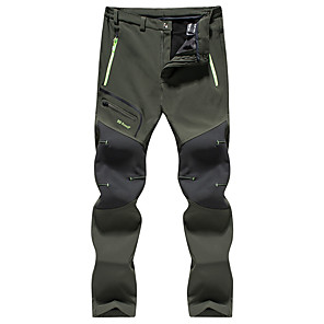 cheap Hiking Trousers & Shorts-Men's Hiking Pants Softshell Pants Solid Color Winter Outdoor Windproof Fleece Lining Breathable Rain Waterproof Softshell Pants / Trousers Bottoms Black Army Green Gray Hunting Ski / Snowboard Hiking