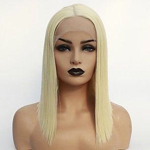 cheap Synthetic Lace Wigs-Synthetic Lace Front Wig Straight Middle Part Lace Front Wig Blonde Short Light Blonde Synthetic Hair 22-26 inch Women's Soft Heat Resistant Women Blonde / Glueless