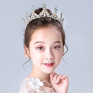 cheap Costumes Jewelry-Tiaras Forehead Crown Halloween New Year's Imitation Pearl Rhinestones Alloy For Princess Elsa Anna Cosplay Girls' Costume Jewelry Fashion Jewelry / Headwear / Headwear