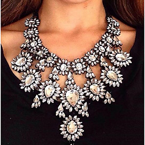 cheap Jewelry Sets-Women's Chocolate Synthetic Diamond Statement Necklace Pear Cut Bib Ladies Fashion Euramerican Victorian Synthetic Gemstones Alloy Cuticolor White Red Gold Green Necklace Jewelry For Wedding Party