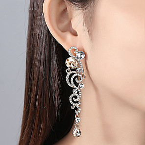 cheap Earrings-Women's Clear Cubic Zirconia Earrings Long Stylish Earrings Jewelry Gold / Silver For Wedding Party 1 Pair