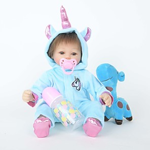 cheap Reborn Doll-FeelWind 18 inch Reborn Doll Reborn Toddler Doll Baby Boy Unicorn Horse with Baby Hair lifelike Handmade Cute Natural Skin Tone Cloth 3/4 Silicone Limbs and Cotton Filled Body with Clothes and / Kids