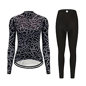 cheap Cycling Jerseys-FirtySnow Women's Long Sleeve Cycling Jersey with Tights Black Gradient Bike Clothing Suit Thermal / Warm Windproof Fleece Lining Winter Sports Polyester Gradient Mountain Bike MTB Road Bike Cycling