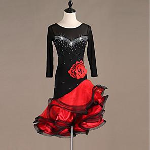 cheap Latin Dancewear-Latin Dance Dress Embroidery Split Joint Crystals / Rhinestones Women's Performance Long Sleeve Spandex