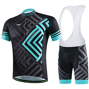 cheap Cycling Jersey & Shorts / Pants Sets-cheji® Men's Short Sleeve Cycling Jersey with Shorts Green / Black Black / Green Black / Blue Bike Clothing Suit Breathable Sports Solid Colored Mountain Bike MTB Road Bike Cycling Clothing Apparel