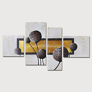 cheap Abstract Paintings-Oil Painting Hand Painted - Abstract Floral / Botanical Modern Stretched Canvas / Four Panels