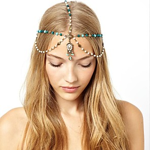 cheap Ethnic & Cultural Costumes-American Indian Headdress Adults' Bohemian Style Women's Green Artificial Gemstones / Alloy Party Cosplay Accessories Halloween / Carnival / Masquerade Costumes / Female