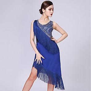 cheap Latin Dancewear-Latin Dance Dress Tassel Paillette Women's Performance Sleeveless Milk Fiber