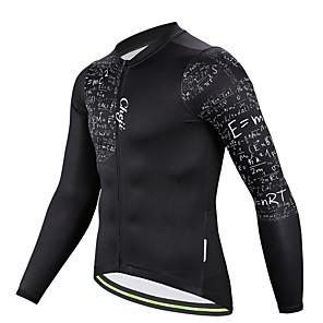 cheap Cycling Jerseys-cheji® Men's Long Sleeve Cycling Jersey Winter Fleece Polyester Black Bike Jersey Top Mountain Bike MTB Road Bike Cycling Breathable Quick Dry Sports Clothing Apparel