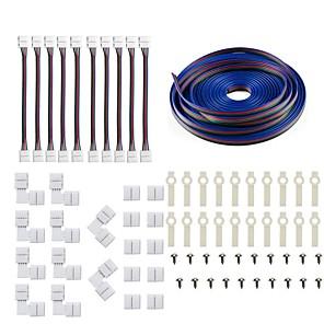 cheap Lamp Bases & Connectors-5050 5630 3014 4Pin LED Strip Connector Kit - 10mm RGB LED Connector Kit includes 5M RGB Extension Cable 10x LED Strip Jumper 10x L Shape Connectors 10x Gapless Connectors 20x LED Strip Clips