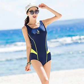 cheap Athletic Swimwear-SANQI Women's One Piece Swimsuit Patchwork Padded Bodysuit Swimwear Blue Black Breathable Quick Dry Ultra Light (UL) Sleeveless - Swimming Water Sports Summer / Elastane
