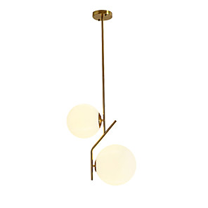 cheap Island Lights-2-Light 28 cm Chandelier Metal Glass Sputnik Electroplated Contemporary Artistic 110-120V 220-240V
