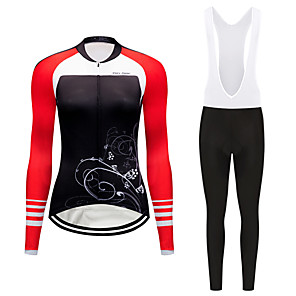 cheap Triathlon Clothing-FirtySnow Women's Long Sleeve Cycling Jersey with Bib Tights Winter Fleece Polyester Black White Floral Botanical Bike Clothing Suit Thermal / Warm Windproof Fleece Lining Sports Floral Botanical