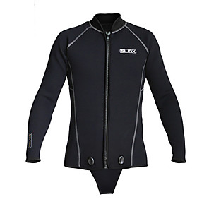 cheap Wetsuits, Diving Suits & Rash Guard Shirts-SLINX Men's Wetsuit Top Wetsuit Jacket 3mm SCR Neoprene Top Thermal / Warm UV Sun Protection Ultraviolet Resistant Long Sleeve Front Zip - Diving Solid Colored Autumn / Fall Spring Summer