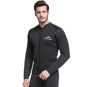 cheap Wetsuits, Diving Suits & Rash Guard Shirts-SBART Men's Wetsuit Top 5mm SCR Neoprene Top Thermal / Warm Long Sleeve Front Zip - Diving Surfing Snorkeling Autumn / Fall Spring Summer / Micro-elastic
