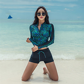 cheap Wetsuits, Diving Suits & Rash Guard Shirts-SANQI Women's Rashguard Swimsuit Elastane Swimwear Quick Dry Long Sleeve Front Zip - Swimming Trees / Leaves Solid Colored Summer / Micro-elastic