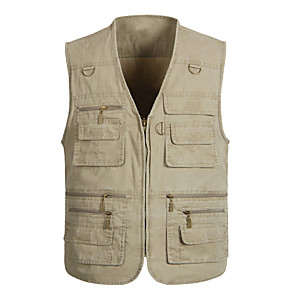 cheap Softshell, Fleece & Hiking Jackets-Men's Hiking Vest / Gilet Fishing Vest Outdoor Solid Color Windproof Quick Dry Fast Dry Wearable Top Denim Single Slider Fishing Outdoor Exercise White / Army Green / Grey / Multi Pocket