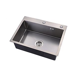 povoljno Kuhinjski sudoperi-Kitchen Sink- 304Nehrđajući čelik Brushed Pravokutno Upadajte Jedna posuda
