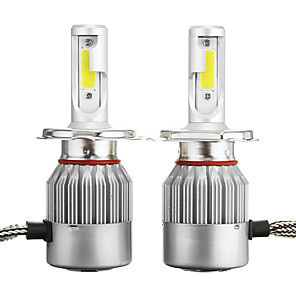 cheap Car Headlights-Pair C6 H4 72W 7600LM 6000k-6500K White IP68 COB Car LED Headlights High/Low Beam Lamp Bulb
