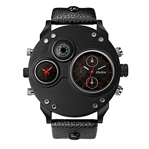 cheap Smartwatches-Oulm Men's Wrist Watch Quartz Oversized Leather Black 30 m New Design Compass Dual Time Zones Analog Fashion Elegant - Black Red Blue One Year Battery Life / Large Dial / Jinli 377