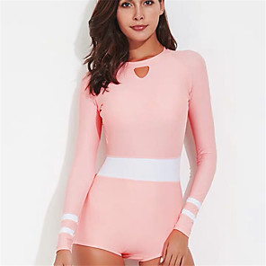 cheap Wetsuits, Diving Suits & Rash Guard Shirts-WATERTIME® Women's One Piece Swimsuit Padded Swimwear Bodysuit Swimwear Blushing Pink UV Sun Protection Breathable Quick Dry Long Sleeve - Swimming Diving Surfing Spring Summer / Elastane / Stretchy