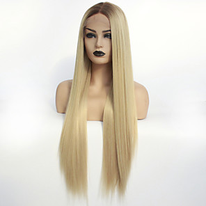cheap Synthetic Lace Wigs-Synthetic Lace Front Wig Ombre Straight Middle Part Lace Front Wig Ombre Long Dark Brown / Golden Blonde Synthetic Hair 22-26 inch Women's Heat Resistant Color Gradient Middle Part Ombre / Glueless