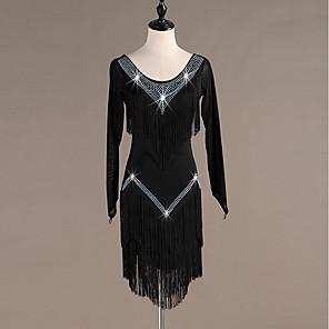 cheap Latin Dancewear-Latin Dance Dress Tassel Crystals / Rhinestones Women's Training Performance Long Sleeve High Spandex Tulle