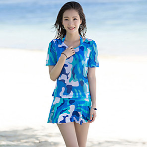 cheap Historical & Vintage Costumes-SANQI Women's Rashguard Swimsuit Swimwear Quick Dry Short Sleeve 3-Piece - Swimming Water Sports Patchwork Summer
