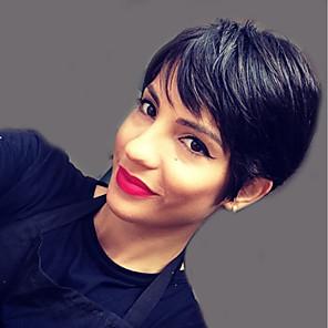 cheap Human Hair Capless Wigs-Human Hair Capless Wigs Human Hair Natural Straight Pixie Cut / Short Hairstyles 2019 Fashionable Design / New Design / Cool Black Short Capless Wig Women's / Natural Hairline / Natural Hairline