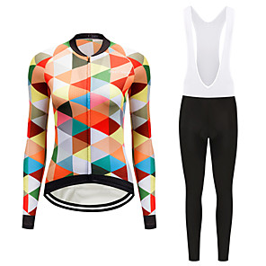 cheap Triathlon Clothing-FirtySnow Women's Long Sleeve Cycling Jersey with Tights White Black Plaid / Checkered Bike Clothing Suit Breathable Moisture Wicking Quick Dry Sports Polyester Plaid / Checkered Mountain Bike MTB