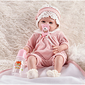 cheap Reborn Doll-FeelWind 22 inch Reborn Doll Girl Doll Baby Boy Baby Girl Reborn Baby Doll lifelike Handmade Cute Kids / Teen Non-toxic Cloth 3/4 Silicone Limbs and Cotton Filled Body with Clothes and Accessories