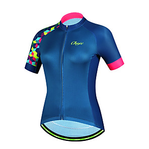 cheap Cycling Jerseys-cheji® Women's Short Sleeve Cycling Jersey Polyester Dark Blue Bike Jersey Top Mountain Bike MTB Road Bike Cycling Breathable Sports Clothing Apparel / High Elasticity