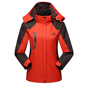 cheap Softshell, Fleece & Hiking Jackets-Women's Hiking Jacket Hiking Windbreaker Winter Outdoor Patchwork Waterproof Windproof Breathable Warm Jacket Top Full Length Hidden Zipper Camping / Hiking Hunting Climbing Purple / Red / Light