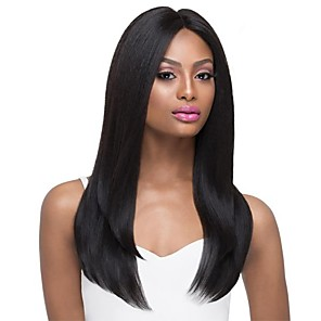 cheap Synthetic Lace Wigs-Human Hair Blend Wig Long Natural Straight Middle Part Black Fashionable Design Hot Sale Comfortable Capless Women's Jet Black #1 24 inch / Natural Hairline / Natural Hairline