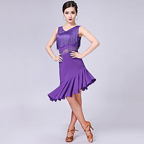 cheap Latin Dancewear-Latin Dance Dress Lace Tassel Split Joint Women's Performance Sleeveless High Milk Fiber