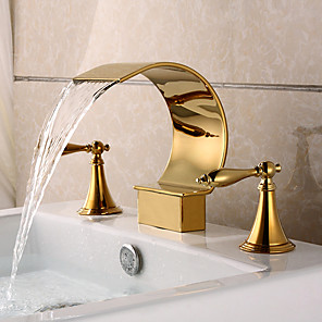 cheap Bathroom Sink Faucets-Bathroom Sink Faucet - Waterfall Ti-PVD Widespread Two Handles Three HolesBath Taps