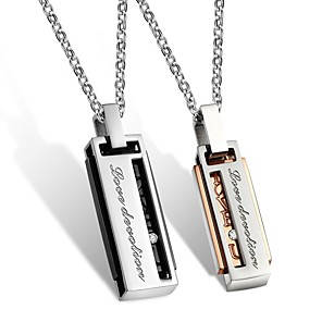 cheap Pendant Necklaces-Men's Women's Clear AAA Cubic Zirconia Pendant Necklace Geometrical Engraved Letter Relationship Fashion Hip-Hop Steel Stainless Rose Gold Black 50 cm Necklace Jewelry 1pc For Wedding Engagement