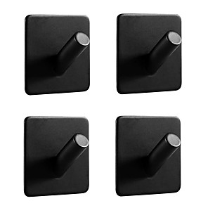 cheap Bathroom Accessory Set-Simple Adhesive Hooks Heavy Duty 4 pack Durable 305 Stainless Steel Wall Hangers, Waterproof Rustproof Oil Proof for Kitchen, Bathrooms, Doors, Office, Closet-Black