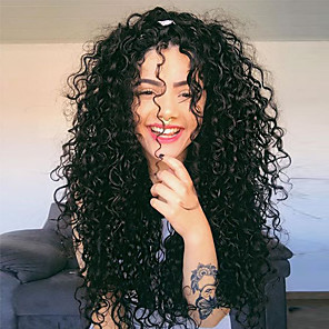 cheap Synthetic Lace Wigs-Synthetic Lace Front Wig Curly Wavy Middle Part Lace Front Wig Long Black#1B Synthetic Hair 24 inch Women's Party Synthetic Easy dressing Black