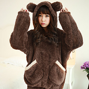 cheap Women's Boots-Adults' Pants Hoodie Kigurumi Pajamas Bear Onesie Pajamas Flannel Fabric Brown / Beige Cosplay For Men and Women Animal Sleepwear Cartoon Festival / Holiday Costumes