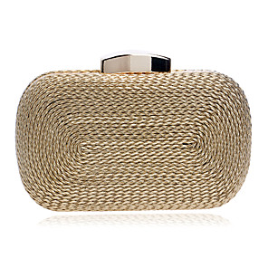 cheap Clutches & Evening Bags-Women's PU / Alloy Evening Bag Solid Color Black / Gold / Silver / Fall & Winter