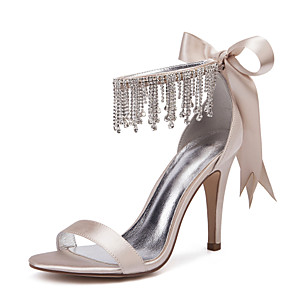 cheap Wedding Shoes-Women's Satin Spring / Spring & Summer Sweet Wedding Shoes Stiletto Heel Round Toe Rhinestone / Bowknot / Tassel Burgundy / Champagne / Ivory / Party & Evening