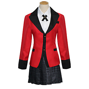 cheap Lolita Wigs-Inspired by Kakegurui / Compulsive Gambler Cosplay Anime Cosplay Costumes Japanese Cosplay Suits School Uniforms JK Coat Blouse Skirt For Women's / Socks / Bow Tie / Socks / Bow Tie