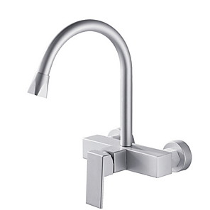 cheap Kitchen Faucets-Kitchen faucet - Single Handle Two Holes Electroplated Standard Spout / Tall / High Arc Wall Mounted Ordinary Kitchen Taps / aluminium