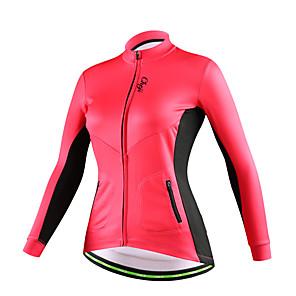 cheap Cycling Jerseys-cheji® Women's Long Sleeve Cycling Jersey Winter Cotton Fleece Red Pink Black Bike Jersey Top Mountain Bike MTB Road Bike Cycling Thermal / Warm Fleece Lining Breathable Sports Clothing Apparel