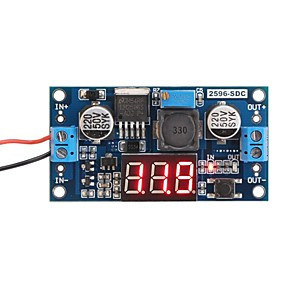 cheap Novelties-LM2596 Analog Control Buck Transformer DC-DC Voltage Reducer Regulator Module Stabilizer with Red LED Display Voltmeter