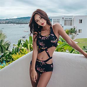 cheap Athletic Swimwear-SANQI Women's One Piece Swimsuit Monokini Bodysuit Swimwear Black Quick Dry Ultra Light (UL) Wearable Sleeveless - Swimming Water Sports Summer
